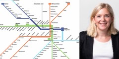 Amanda Welander and the new subway map in Stockholm.