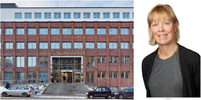Swedish tax agency office in Solna and Åsa Bergström.
