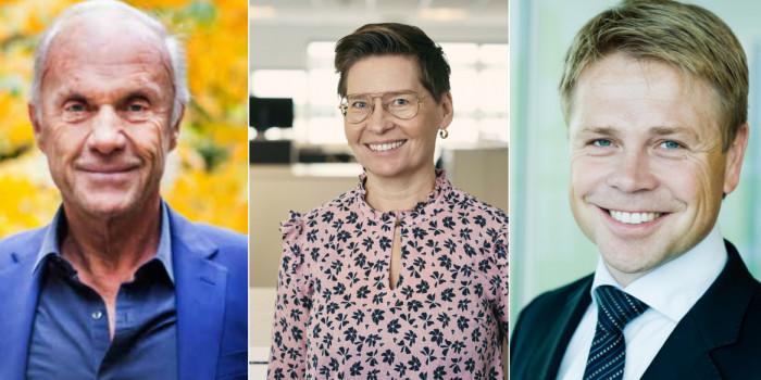 Sven-Olof Johansson (CEO, Fastpartner), Ulrika Hallengren (CEO, Wihlborgs) and Arve Regland (CEO, Entra).