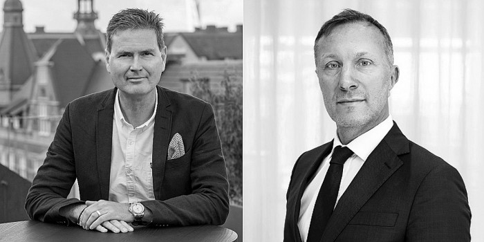 Patrik Hall (CEO, Heimstaden) and Fredrik Lidjan (CEO, Magnolia Bostad).