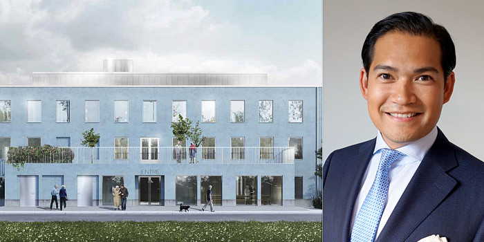 The new care home in Motala and Thorsten Slytå.
