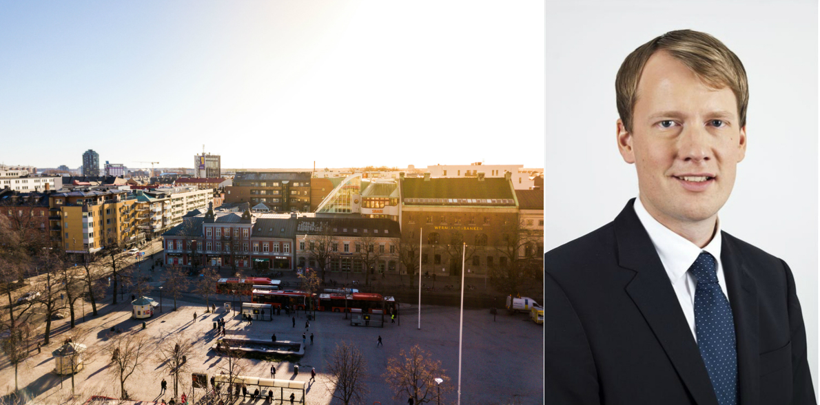 The property in Karlstad and Daniel Andersson, Head of Real Estate Corporate Finance Sweden at Arctic Securities.