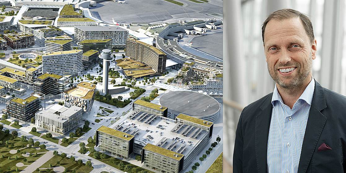 The future airport city of Arlanda and the real estate CEO Stefan Stenberg.