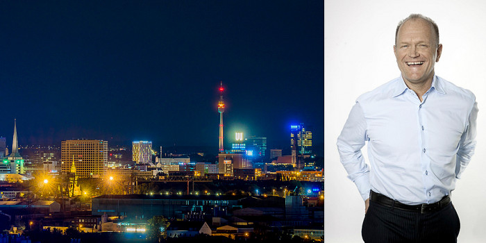 Dortmund skyline and Pandox's CEO Anders Nissen.