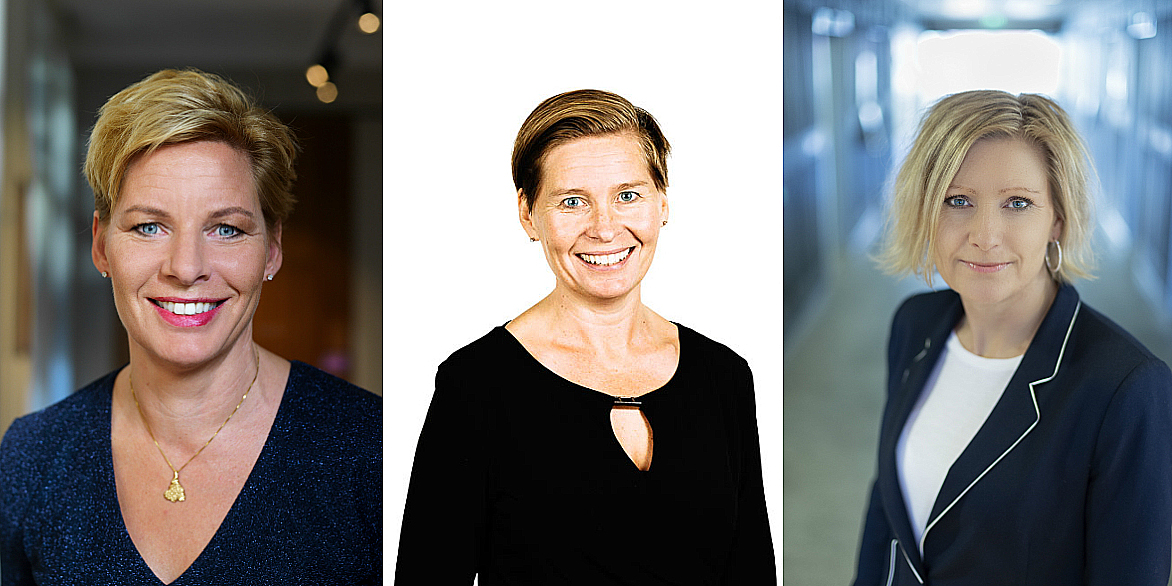 Annica Ånäs (CEO, Atrium Ljungberg), Ulrika Hallengren (CEO, Wihlborgs) and Caroline Arehult (CEO, Hemfosa).