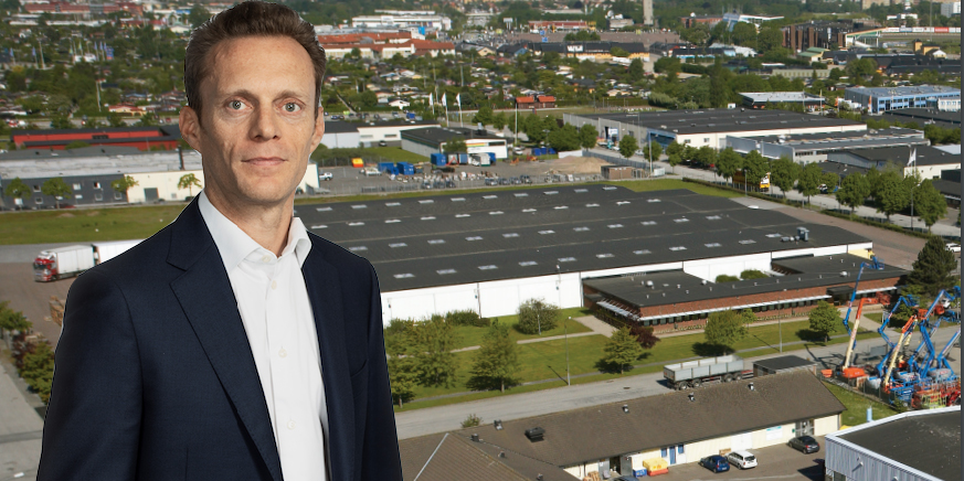 Montage of a Swedish logistics property and Emmanuel Van der Stichele, CEO of Mileway.