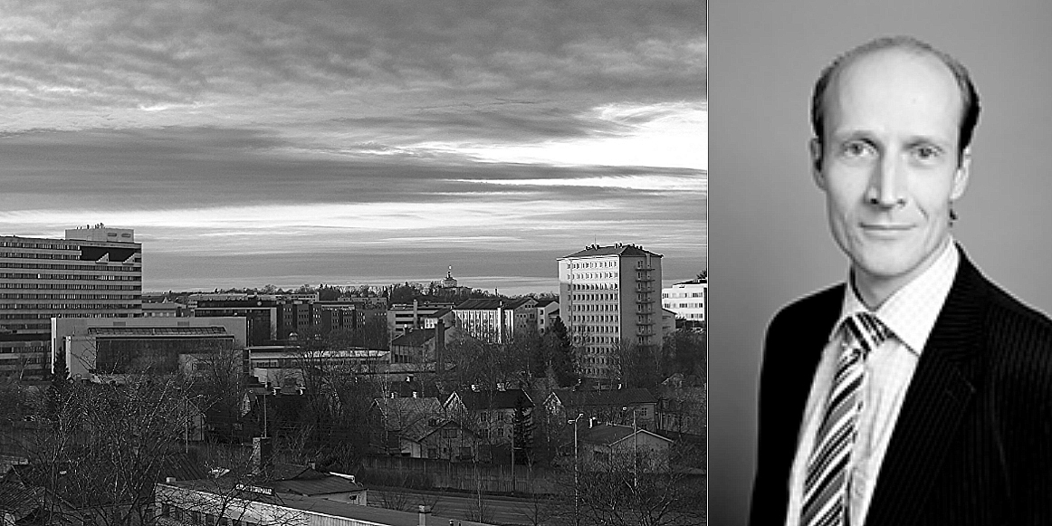 Skyline of Turku and Jukka Sjösten, Real Estate Portfolio Manager at Aktia Asset Management.
