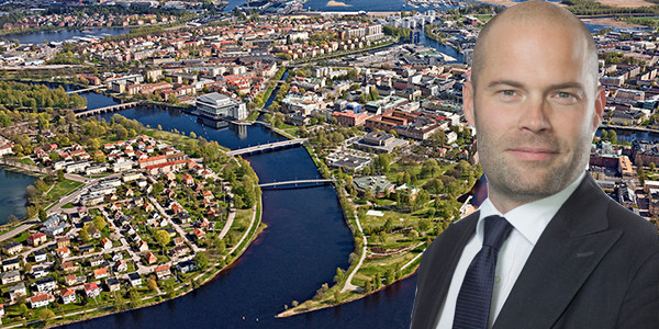 Montage of Randviken's CEO Tobias Emanuelsson and the city of Karlstad.