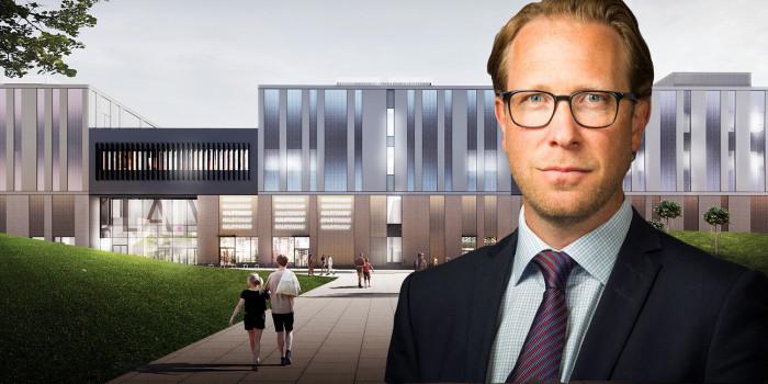 Montage of the new Lippulaiva center and Erik Lennhammar, Chief Development Officer of Citycon.