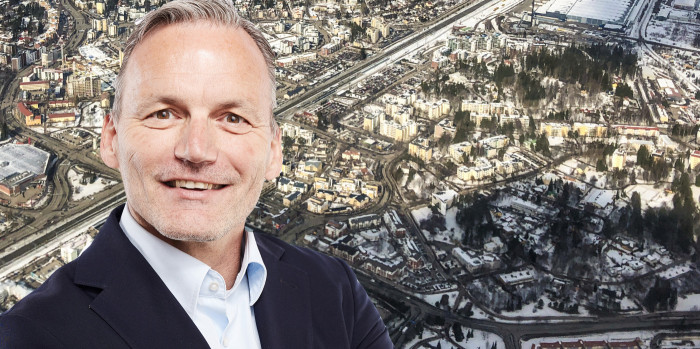 Montage of Matthias Kettelhoit, Commercieal Head of Logicenters, and skyline of Kerava.