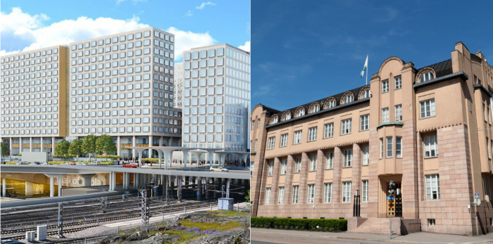 Two of the largest hotel projects in Helsinki (see text below.)