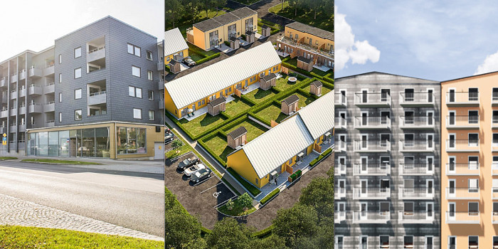 Three of K-Fastigheter's projects in southern Sweden.
