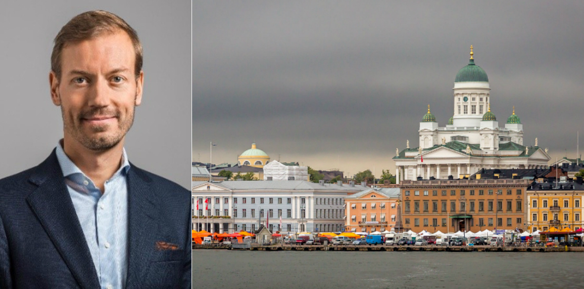 Markus Laine, Head of Finland at Areim, and Helsinki skyline.