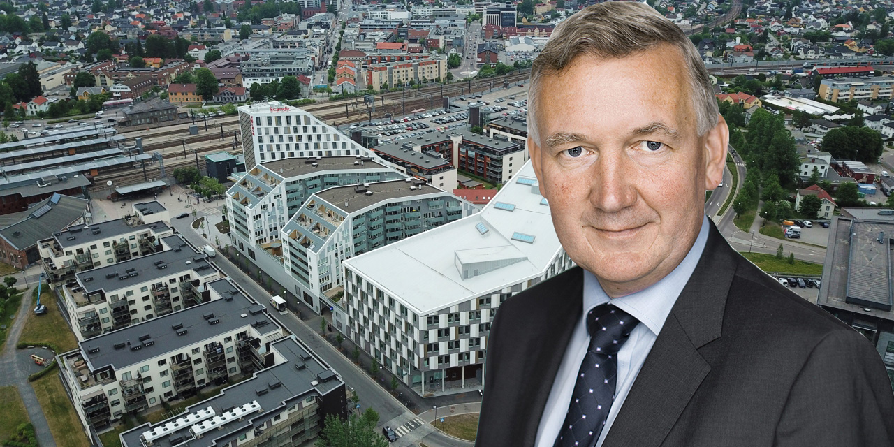 Montage of Nils Morten Bøhler, CEO of Obos Eiendom, and the Portalen area in Lillestrøm, Oslo.