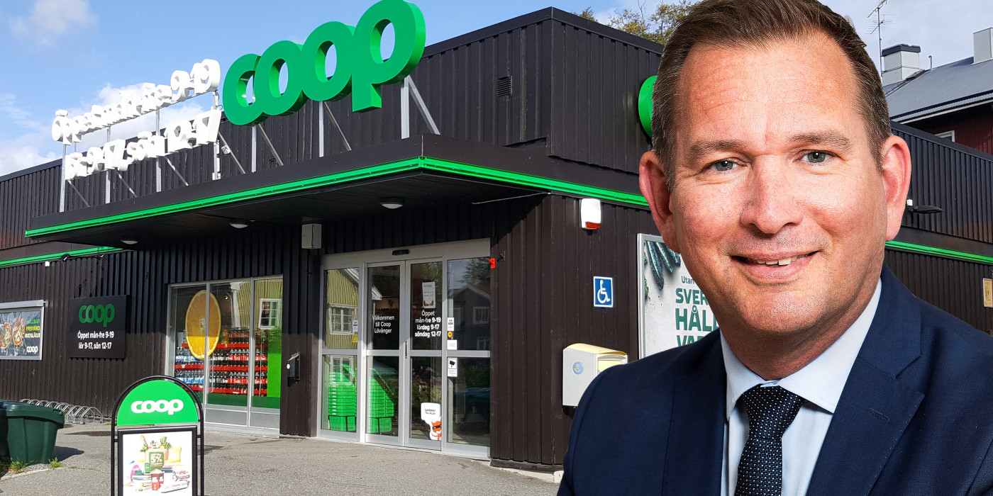 Montage of Sverker Källgården, CEO of Cibus, and a Coop store.