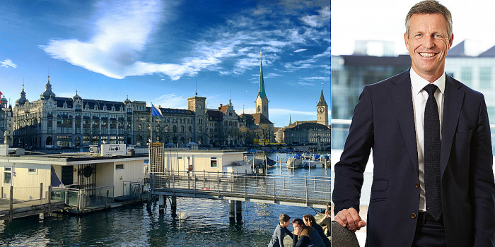 Zurich skyline and Henrik Saxborn, CEO of Castellum and recently elected board member of PSP Swiss Property.
