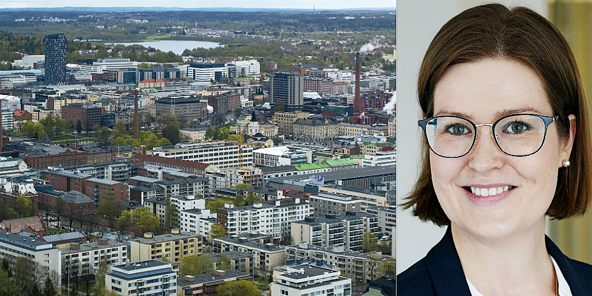 Tampere skyline and EQ Finnish Real Estate's Fund Manager, Marjaana Berger.