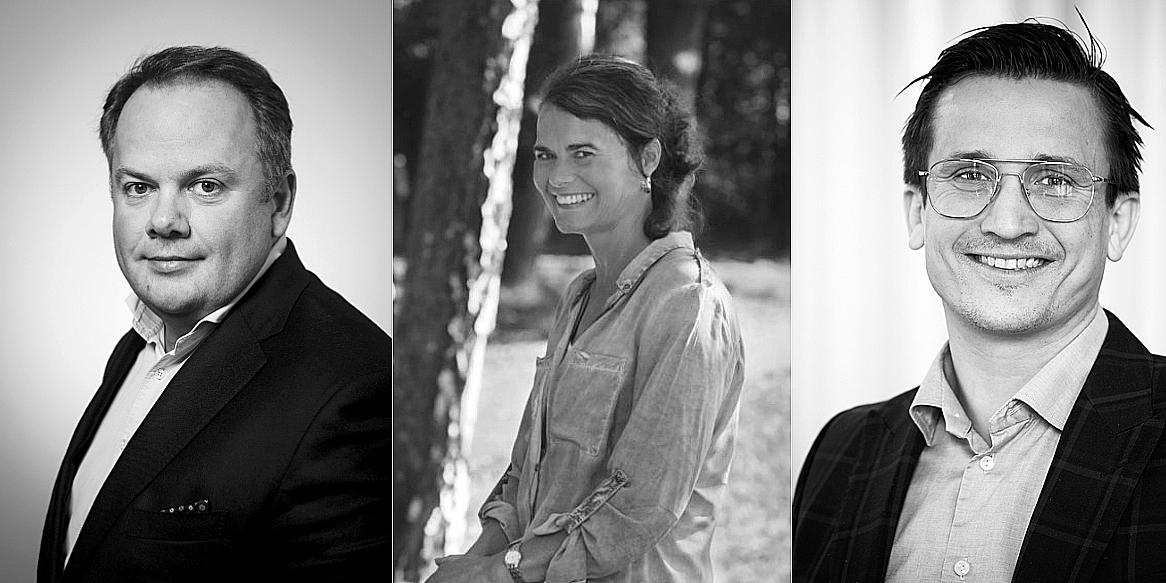 Kestutis Sasnauskas (CEO of Eastnine), Siv Malmgren (CEO of John Mattson), and Andreas Wahlén (CEO of NP3).