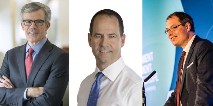 Mortimer J. Buckley, CEO of Vanguard, Darryl White, CEO of BMO,and Ronald Wuijster, CEO of APG Asset Management.