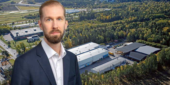 Montage of Tomas Beck, Head of Nordics at Mileway, and Arlandastad's logistics area outside Stockholm.