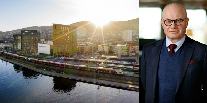 The sold office property in Drammen, and Bård Bjølgerud, CEO of Pangea Property Partners.