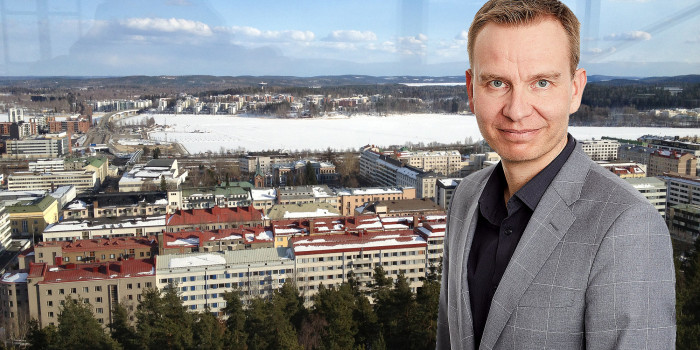 Montage of Jarkko Leinonen, Head of Finland at Hemsö, and the city of Jyväskylä.