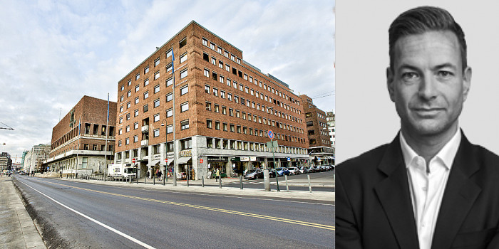 The purchased office building in Oslo, and Stian Levi Andresen, Head of Investments at Ferd Eiendom.
