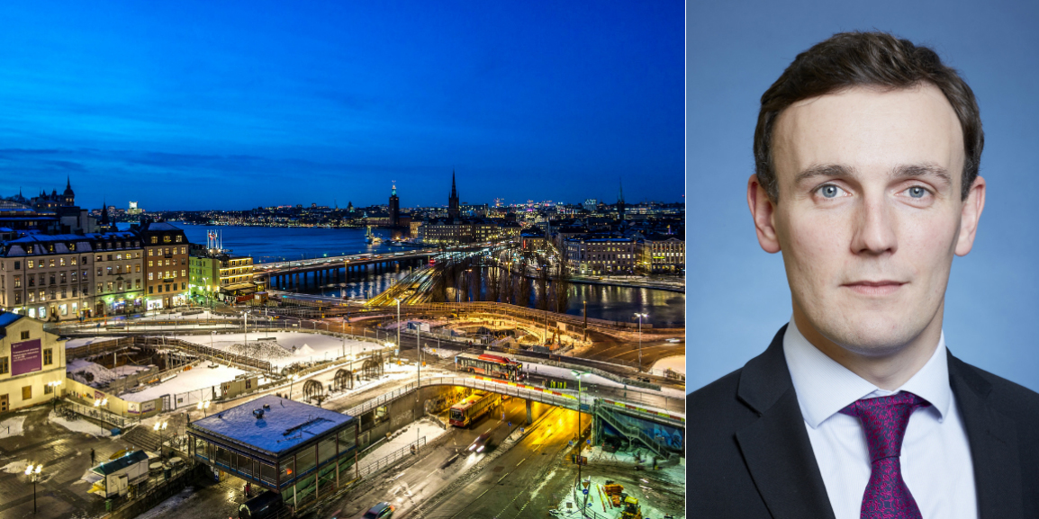 Stockholm skyline, and  Simon Wallace, Head of Research at Deutsche Bank's asset management DWS.