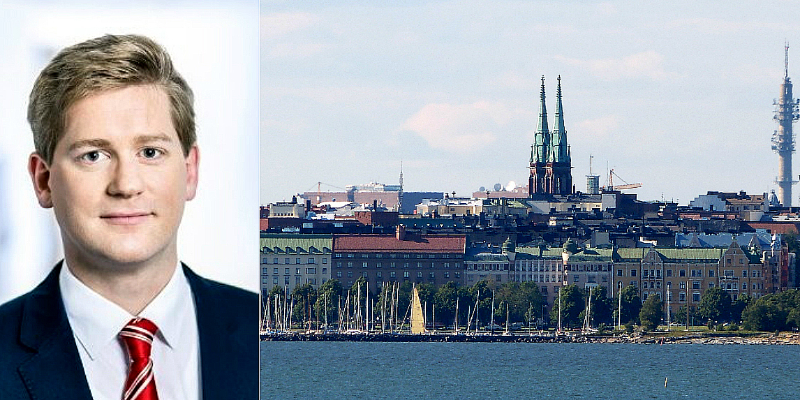 Benjamin Rüther and Helsinki skyline.