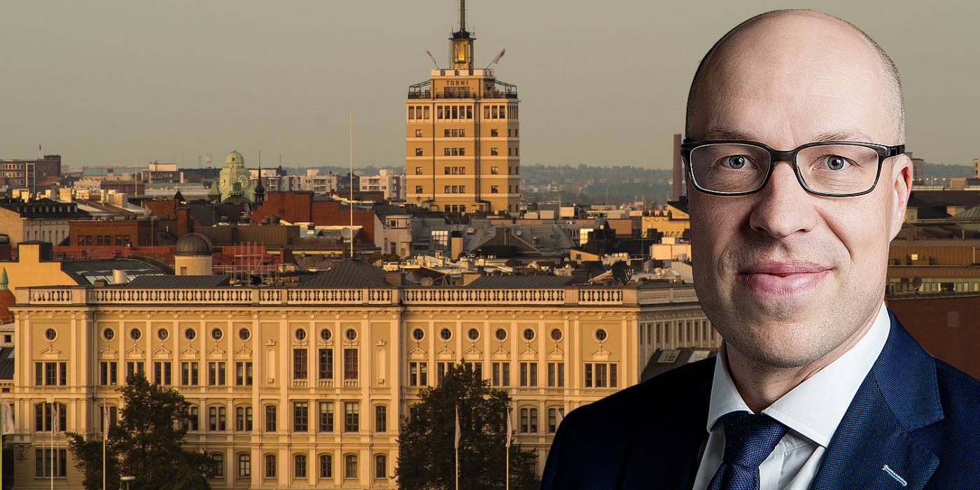 Montage of Helsinki and Mika Matikainen, Managing Partner at Capman Real Estate.