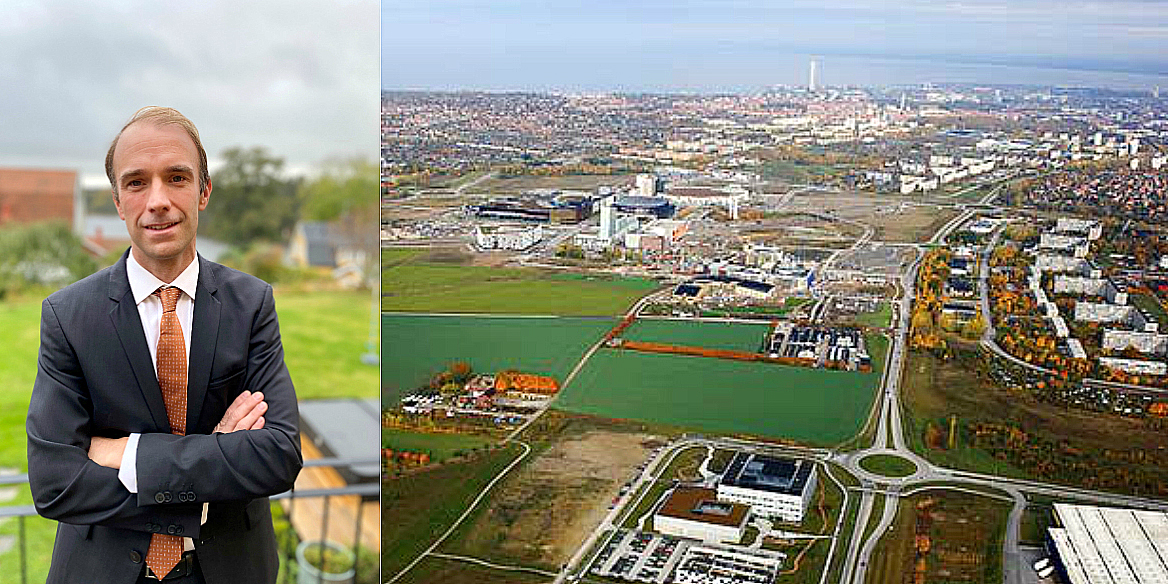 Johan Lagerdahl, Country Manager and Head of Asset Management at Patrizia Sweden, and skyline over the Hyllie area in Malmö.