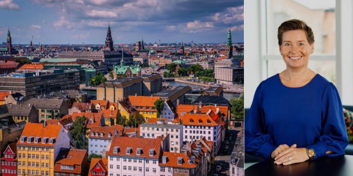 Copenhagen skyline and Wihlborgs' CEO, Ulrika Hallengren.