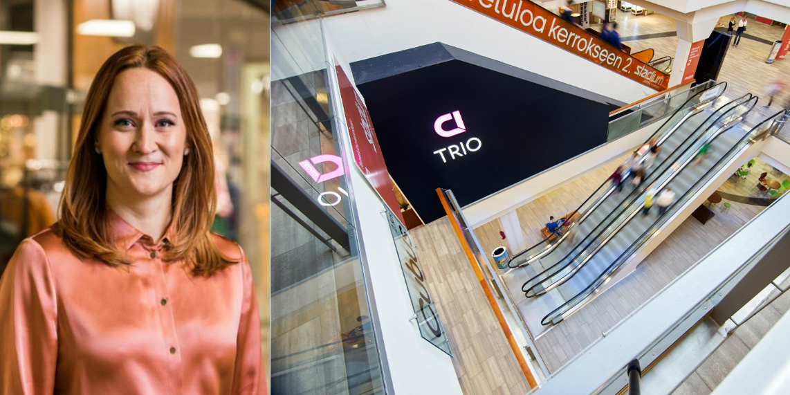 Collage of Saara Viento, Trio's Shopping Centre Manager, and the Trio mall in Lahti.