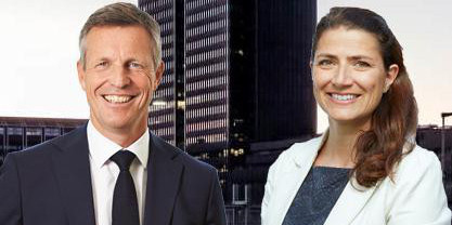 Montage of Henrik Saxborn, CEO of Castellum, and Sonja Horn, CEO of Entra.