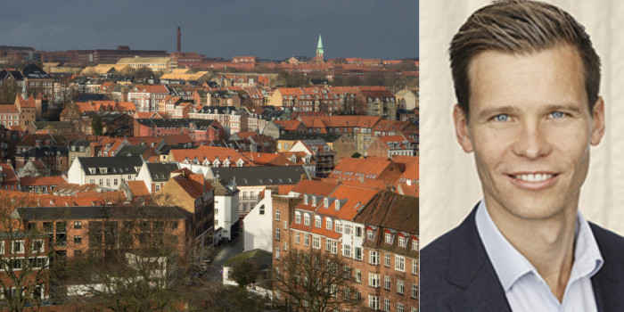 Aarhus skyline and Jacob Kjær, Partner and Head of Denmark at Nordanö.