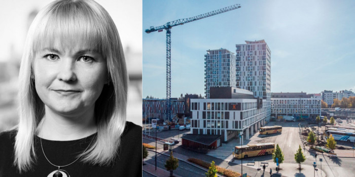 Sanna Puhakainen, Head of Direct Real Estate, Finland, at Aberdeen Standard Investments, and the acquired property.