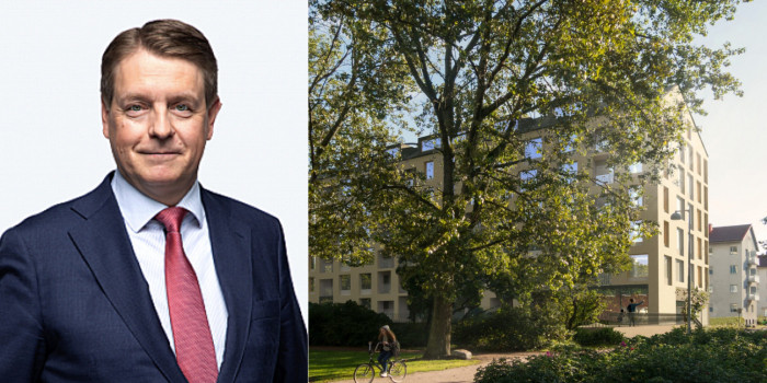 Timo Valtonen, CEO of Julius Tallberg Real Estate, and the divested property.
