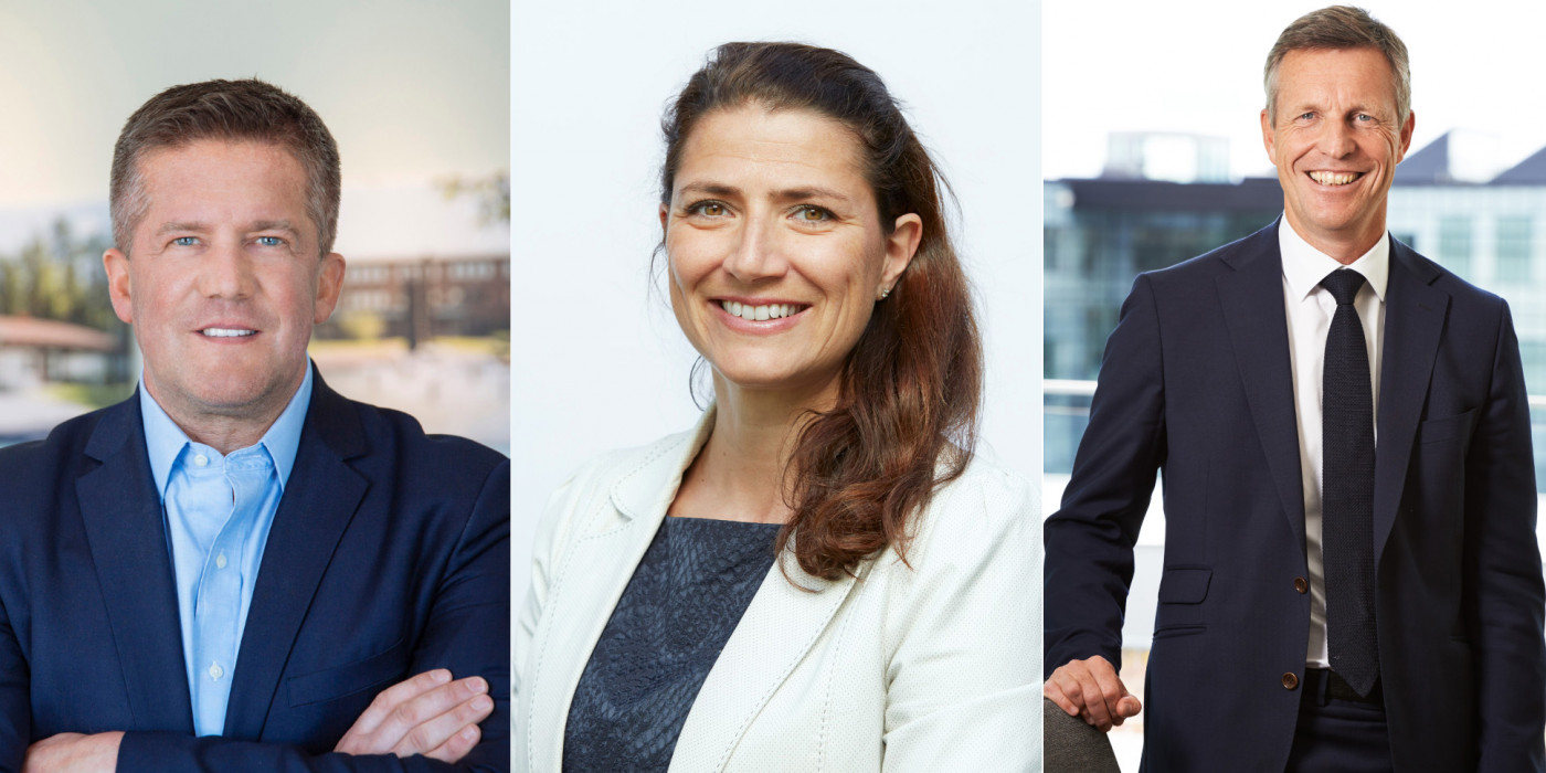 Ilija Batljan, CEO of SBB, Sonja Horn, CEO of Entra, and Henrik Saxborn, CEO of Castellum.