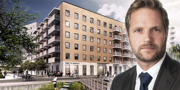 Rickard Langerfors in front of the apartments the NREP acquired from Skanska. The image is a montage.