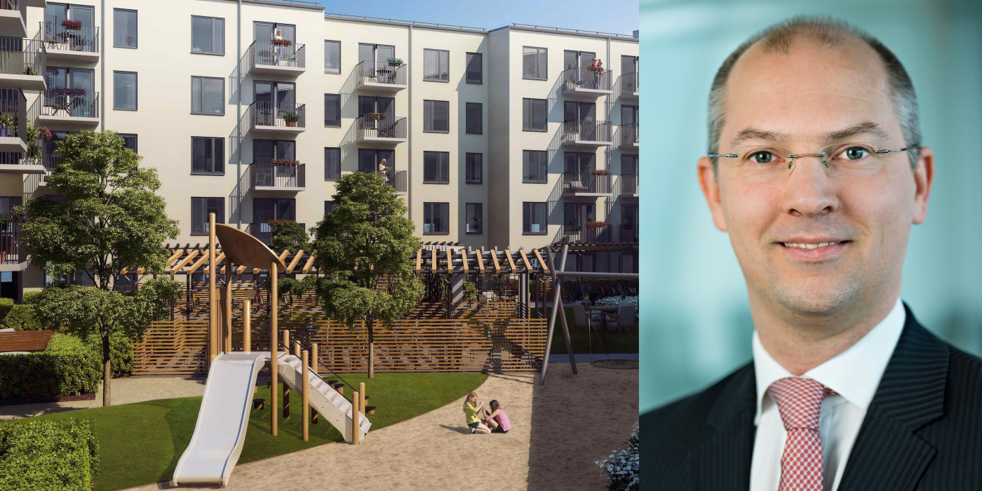 Jörg Laue and Patrizia's latest residential investment in Sweden. The image is a montage.