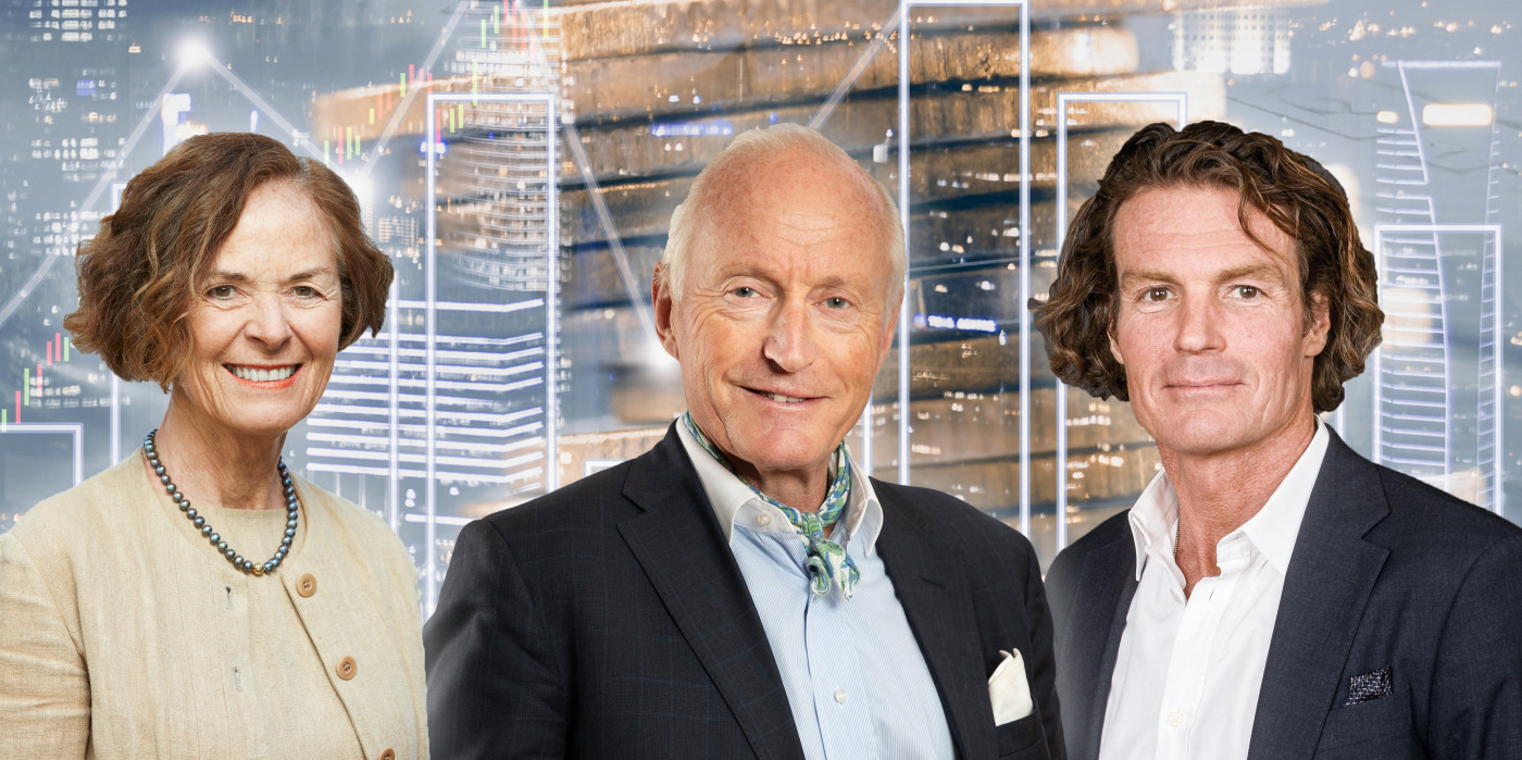 Siri Halten, Chairman of Entra, is in 11th place, Christian Ringnes, Chairman of Pandox, is in 4th place, and Rutger Arnhult, Chairman of Castellum, is second on the list. The image is a montage.