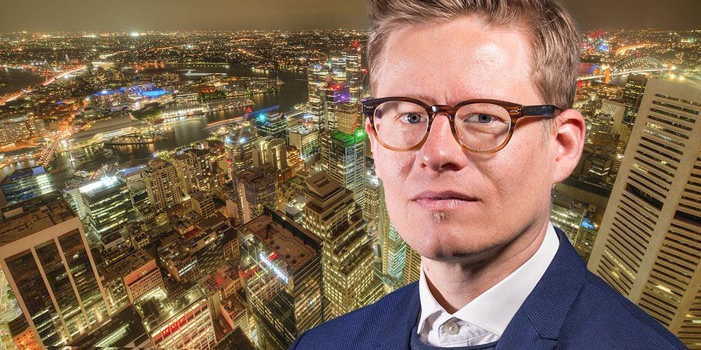 Montage of Mikko Antila, Head of International Real Estate at Ilmarinen, and Sydney skyline.