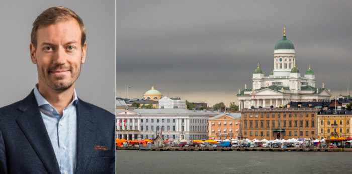 Markus Laine, Head of Finland at Areim, and Helsinki skyline.