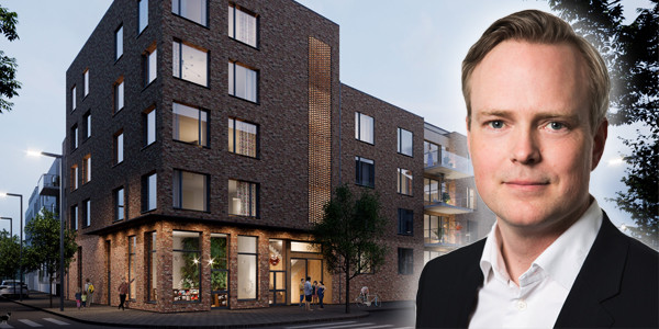 Stefan Wallander, NREP's CEO in Sweden, in front of a care home acquisition in Stockholm made by the Income+ fund. The image is a montage.