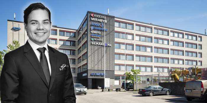 Risto Aro in front of Trevian's newly acquired office building Atomitie 5. The image is a montage.