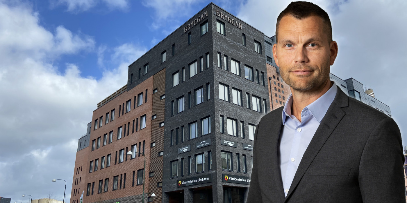 CEO Andreas Birgersson in front of the newly acquired Multihuset in Limhamn, Malmö. The image is a montage.