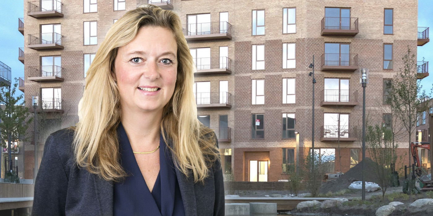 Louise Hertz in front of Gads Hus in Bellakvarteret. The image is a montage.