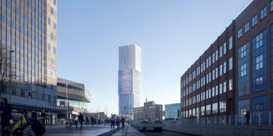 Currently the building is set to be the tallest building in Denmark being 143 meters high.