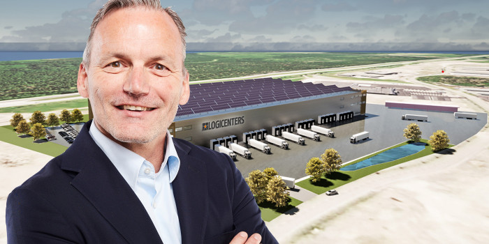 Montage of Matthias Kettelhoit, Head of Logicenters, and the Finnish logistics premises that will be developed.