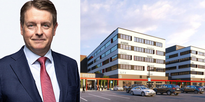Timo Valtonen, CEO of Julius Tallberg Real Estate, and the Pressi office project (vision).